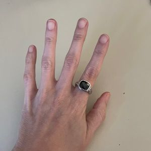 Sterling silver ring with black jewel
